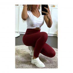 legging sport taille haute pas cher femme bordeaux selfie