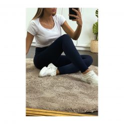 legging sport taille haute pas cher femme bleu marine fonce assis