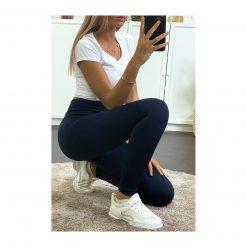 legging sport taille haute pas cher femme bleu marine fonce acroupie