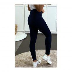 legging sport taille haute pas cher femme bleu marine fonce de dos