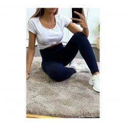 legging sport taille haute pas cher femme bleu marine fonce selfie