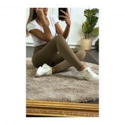 legging sport taille haute pas cher femme vert kaki assis