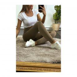 legging sport taille haute pas cher femme vert kaki selfie