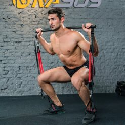 barre elastique fitness musculation exercice squats homme