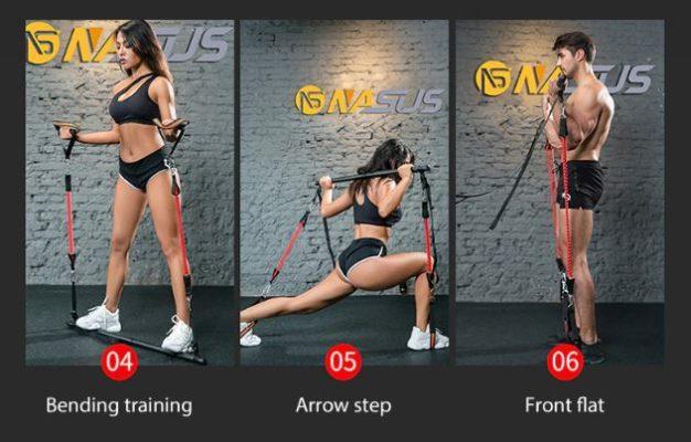 Exemples d'exercices avec barre de musculation et élastiques