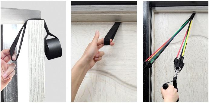 elastiques musculation etapes installation sur cadre de porte