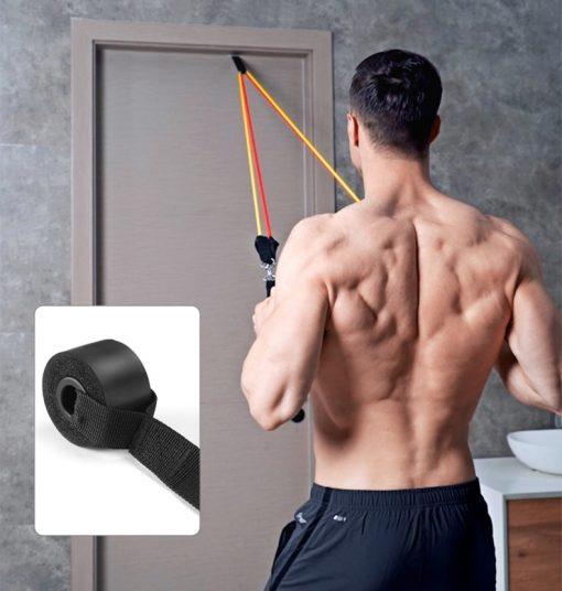 elastiques musculation fitness tirage face a la porte
