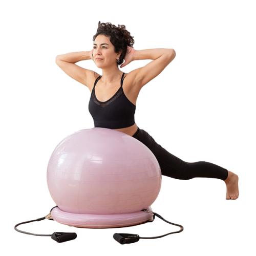gainage avec swiss ball stable et elastiques resistance fitness