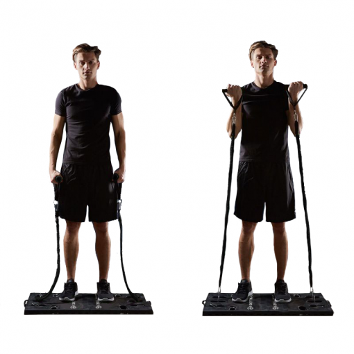 homme exercice curl systeme d entrainement complet portatif avec guide d exercices all in one home fit training