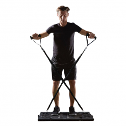 homme exercice elevations laterales systeme d entrainement complet portatif avec guide d exercices all in one home fit training