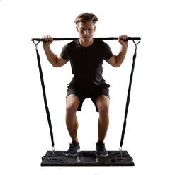 homme exercice squat systeme d entrainement complet portatif avec guide d exercices all in one home fit training