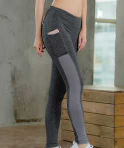 legging sport avec poche telephone gris