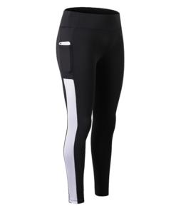 legging sport avec poche telephone noir ligne blanche pantalon seul
