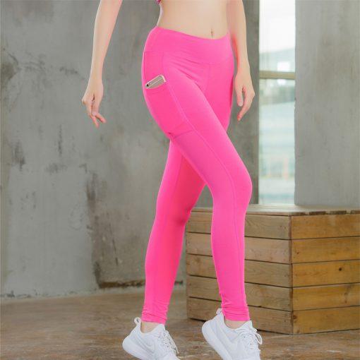 legging sport avec poche telephone rose