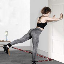 elastiques musculation des jambes fixation porte