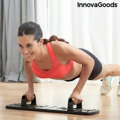 Femme sportive entrainement planche a pompes avec elastiques