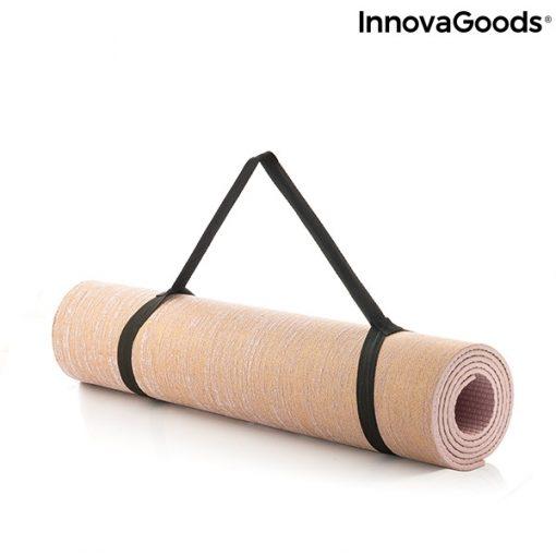 Tapis de yoga en jute sangle elastique