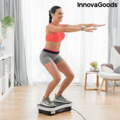 Plateforme vibrante avec elastiques femme exercice squat