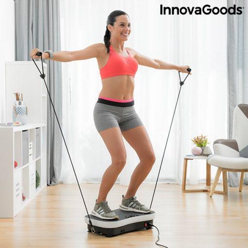 Plateforme vibrante avec elastiques femme exercice tirage