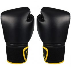 gants de boxe noir kick boxing 14 oz poids moyen revers