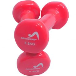 halteres vinyle fitness musculation 0.5 kg roses