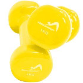 halteres vinyle fitness musculation 1kg jaunes