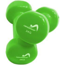 halteres vinyle fitness musculation 2kg vertes