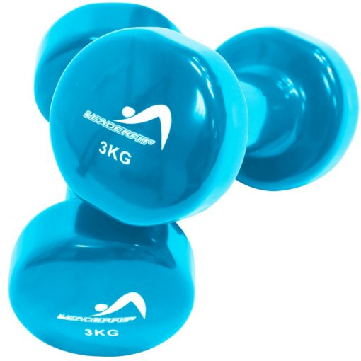 halteres vinyle fitness musculation 3kg bleues