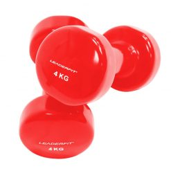halteres vinyle fitness musculation 4kg rouges