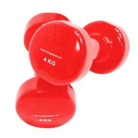 halteres vinyle fitness musculation 4kg rouges