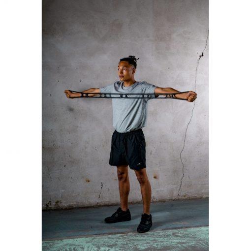 homme tirant elastique musculation fitness souple 6 boucles poignees multiples noir