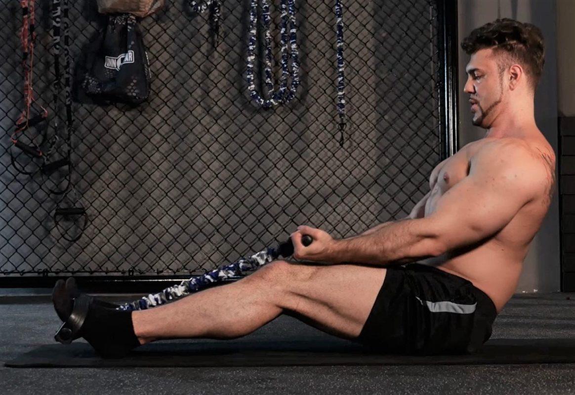 rameur elastique exercice tirage horizontal